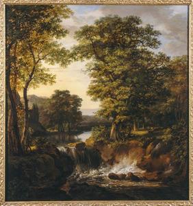 Boslandschap met waterval