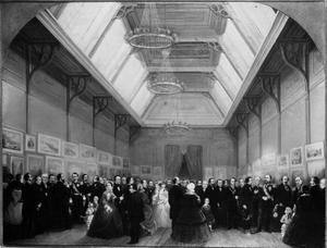 Het bezoek van koning Willem III en kroonprins Willem aan de tekeningententoonstelling in Arti en Amicitiae te Den Haag, 14 april 1860