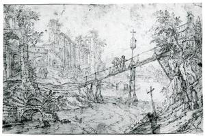 Fantasielandschap met ruïnes en monniken