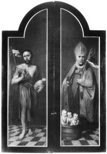 De H. Johannes de Doper (links) en de H. Nicolaas (rechts)
