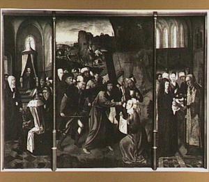 Christus als twaalfjarige in de tempel (links), de kruisdraging (midden), de presentatie in de tempel (rechts)