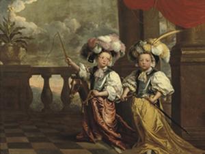 Portret van twee kinderen, genaamd de tweeling Everhard  Kockman (1660-1728) en Hendrik Kockman (1660-1683)