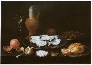 Stilleven van oesters, kruik en wijnglas