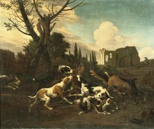 Honden die een zwijn aanvallen in een landschap