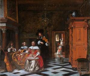 Portret van een musicerende familie