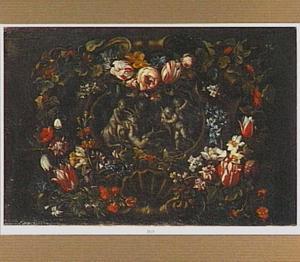 Bloemenkrans rondom een trompe-l'oeil reliëf met putti die met een geit spelen