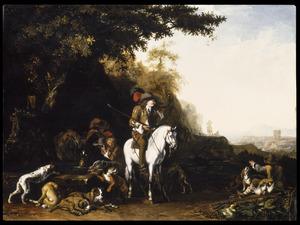 Landschap met jagers en honden bij een drinkbak