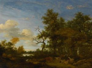 Bebost landschap met herders en hun vee