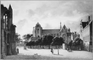 Gezicht op de Grote Kerk in Veere vanuit het zuiden