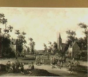 Bedelaars en boeren in een dorpsstraat