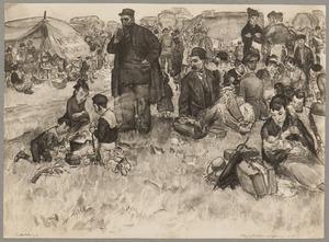 Kampement van Belgische vluchtelingen nabij de grens