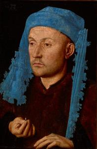 Portret van onbekende een man met blauwe kaproen