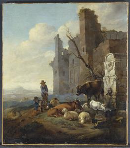 Zuidelijk landschap met herders en hun dieren bij een ruïne