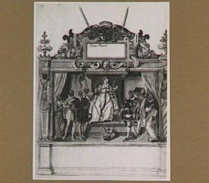 Eerste stellage van de vier rederijkerskamers langs de route van de intocht van Frans van Anjou in Gent in 1582.  In het midden Flandrina op een troon, rondom haar onder andere de personificaties van het Vrije van Brugge, Gent, Yper en Brugge (illustratie in een handschrift)