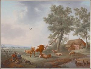 Herders met vee voor een boerderij in een zonnig landschap