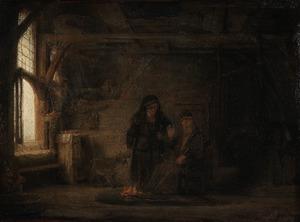 Tobias en Anna met het geitje (Tobias 2:11-14)