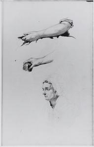 Studies van twee armen en borststuk van vrouw met muts
