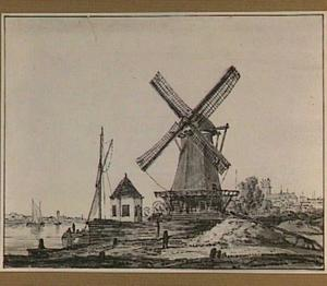 Molen aan de Oude Maas bij Dordrecht,  rechts op de achtergrond de Grote Kerk