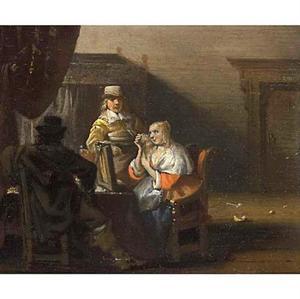 Interieur met een vrouw die haar haren kamt met twee mannen aan een tafel