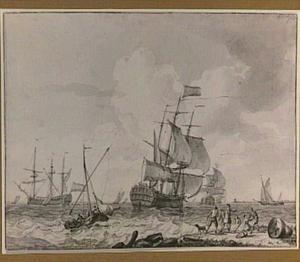 Zeilschepen voor de kust