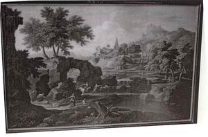 Arcadisch landschap met figuren bij een rivier, in de achtergrond een heuvel met daarop diverse gebouwen
