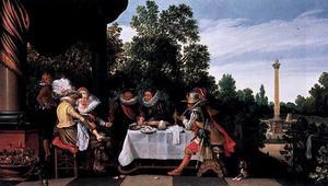 Elegant etend, drinkend, rokend en converserend gezelschap op een terras