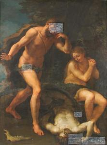 Adam en Eva treurend om de dode Abel