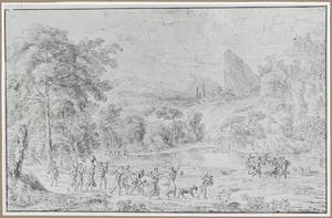 Arcadisch landschap met feestende figuren