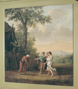Abraham knielt voor de drie engelen (Genesis 18:8-9)