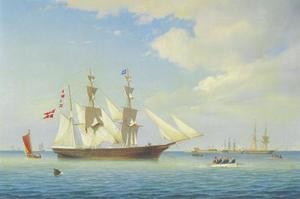Zeegezicht met talrijke zeilschepen in de haven van Kopenhagen