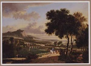 Zuidelijk berglandschap met reizigers op een landweg