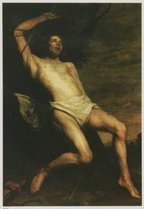 De H. Sebastiaan doorboord door pijlen aan een boom hangend