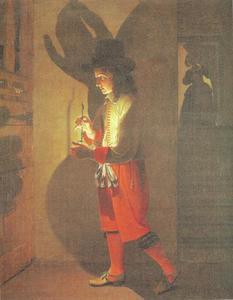 Een jonge man met een olielamp
