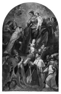 Maria met het kind schenkt in het bijzijn van diverse heiligen de scapulier aan de H. Simon Stock