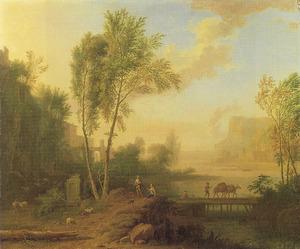 Italianiserend landschap met schaapherder en vrouw bij een grafmonument