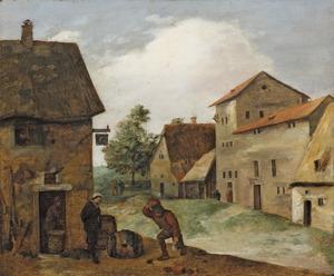 Dorpsstraat met de waard en een boer voor een herberg