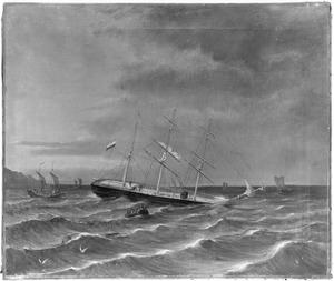 De stranding van het barkschip 'Flora'