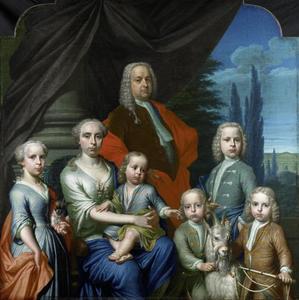 Familieportret van Willem Philip Kops (1695-1756), Johanna de Vos (1702-1758) en hun kinderen