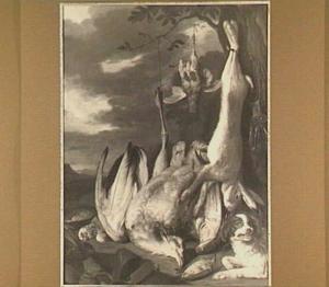 Hond bij een stilleven met een dode haas en gevogelte in een landschap