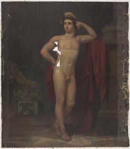 Staand mannelijk naakt in een interieur