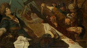 Strijd tussen de piraten; Pelorus steekt zijn rivaal Trachinos neer (Heliodorus: Aethiopica)