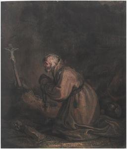 De heilige Elia als heremiet