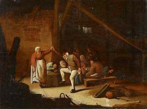 Dansende boeren in een schuur