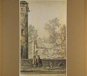 De Boktoren of Lauwerstoren bij de Lauwerspoort in Utrecht, op de achtergond de Oosterstroom en de poort naar de Bemuurde Weerd