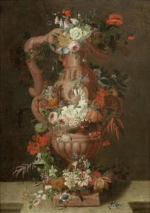 Terracotta amfoor versierd met bloemen