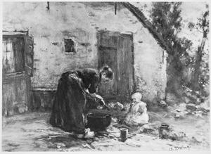 Vrouw met kind op een erf