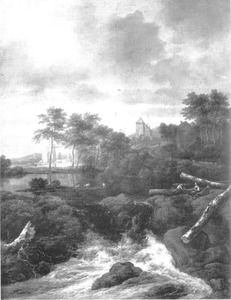 Landschap met waterval, op de achtrgond links een ruïne, rechts huizen