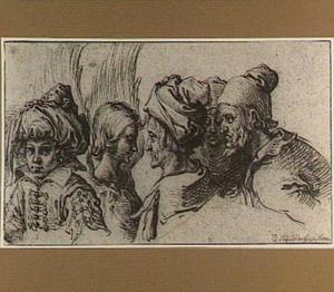 Buste van een jongen met een tulband, van een engel en van drie oude mannen