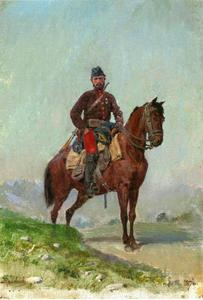 Cavalerist uit het eskadron van generaal Cherniaev