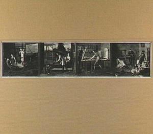 De vier ambachten van het gilde der timmerlieden: de scheepstimmerman, de timmerman, de schrijnwerker en de stoelendraaier